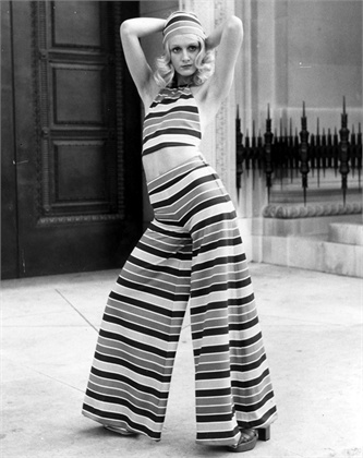 Model Lorain modelling a Lollipop, Deckchair-Striped Halter top and trousers from the Mary Quant Springwear Collection. (Photo by Roger Jackson/Getty Images)